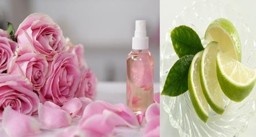 Trị mụn đầu đen bằng hỗn hợp nước hoa hồng và chanh