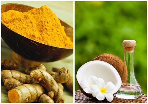 Hồn hợp bột nghệ + dầu dừa giúp da mềm mại, ngăn ngừa nếp nhăn
