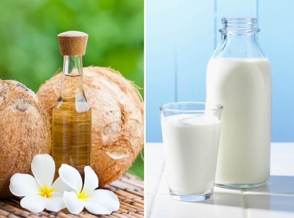 Kết hợp dầu dừa và sữa tươi không đường sẽ mang đến cho bạn một làn da mềm mại, trắng sáng và tươi tắn hơn