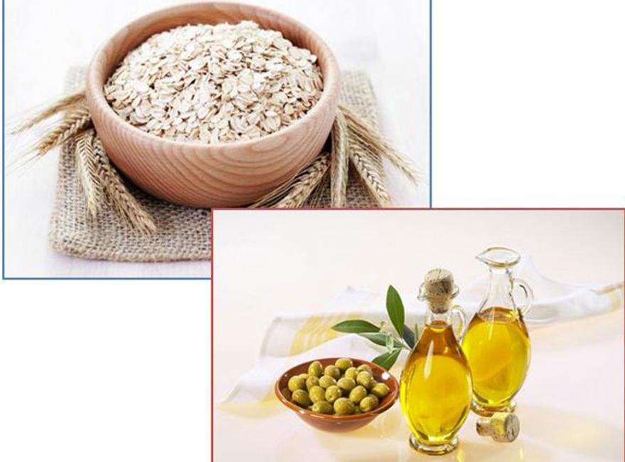 Hỗn hơp bột yến mạch và dầu oliu là sự lựa chọn tuyệt vời giúp vải thiện làn da