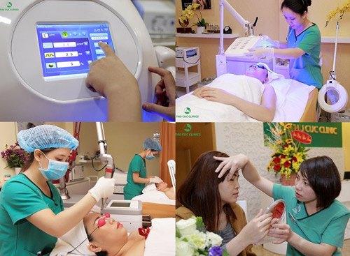 HOT nhất vẫn là những giải pháp điều trị thẩm mỹ da công nghệ cao như trị nám tàn nhang bằng Laser YAG Q-Switched, trị mụn Blue Light, triệt lông Laser Diode...