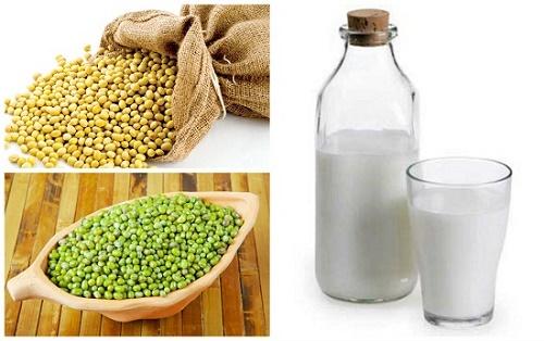 Công thức tắm trắng bằng bột đậu xanh, đậu nành và sữa tươi.