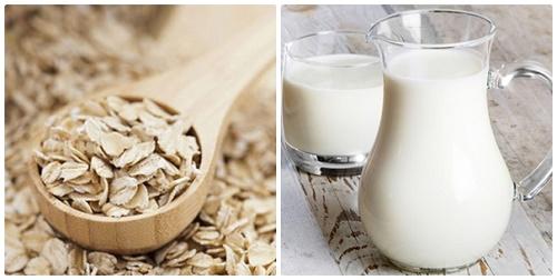 Bột yến mạch và sữa tươi giúp loại bỏ các tế bào chết và bổ sung độ ẩm cho da.