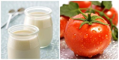 Phương pháp tắm trắng bằng cà chua và sữa tươi.