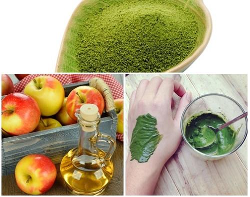 Trà xanh và giấm táo không chỉ giúp trị mụn mà còn điều tiết dầu nhờn hiệu quả.