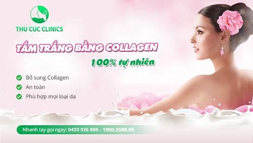 Tắm trắng bằng collagen có liệu trình từ 3 – 5 lần tùy sắc tố da của từng người, thời gian giữa 2 lần tắm trắng là từ 7 – 10 ngày.