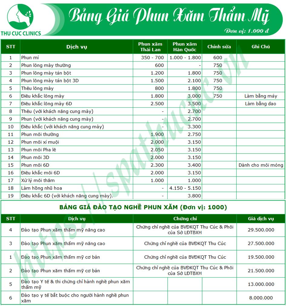 Bảng giá chi tiết các dịch vụ phun xăm tại Thu Cúc