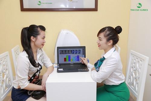 Tại Thu Cúc Clinics, khách hàng đến trị mụn được chuyên viên thăm khám từ đó xác định liệu trình điều trị