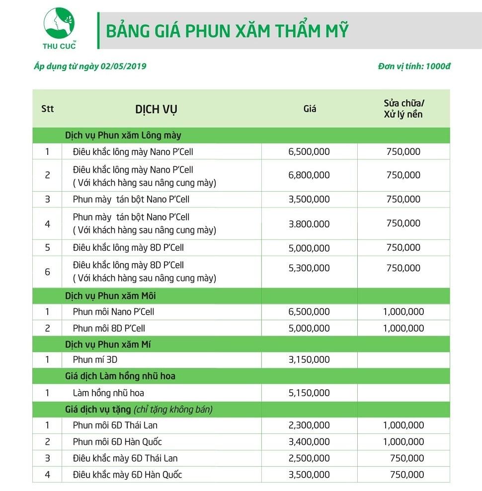 Bảng giá phun xăm thẩm mỹ tại Thu Cúc cập nhật 2017