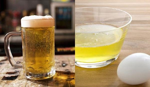 Bia và lòng trứng gà đều là những nguyên liệu chứa nhiều dưỡng chất quý giá, có tác dụng rất tốt trong việc nuôi dưỡng làn da