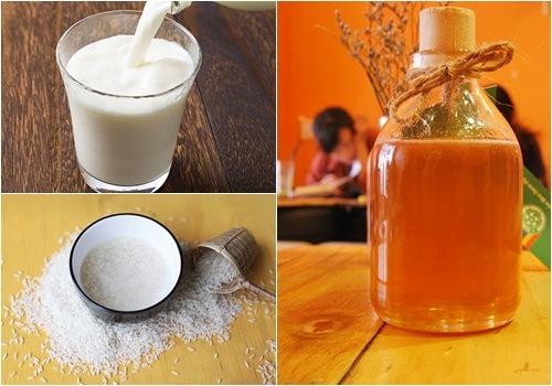 Sữa gạo, mật ong là những nguyên liệu làm đẹp lành tính quen thuộc trong cuộc sống hàng ngày
