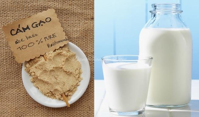 Bột gạo và sữa tươi để làm trắng da toàn thân